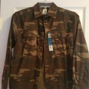 NWT Camo flannel, size 10/12